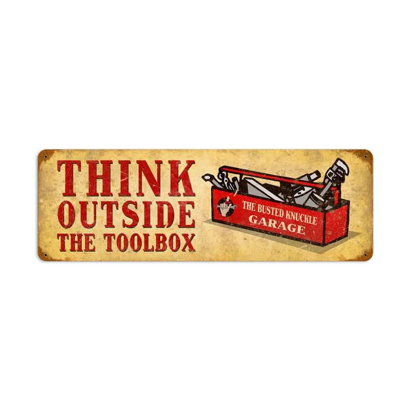 Retro Outside the Toolbox Metal Sign