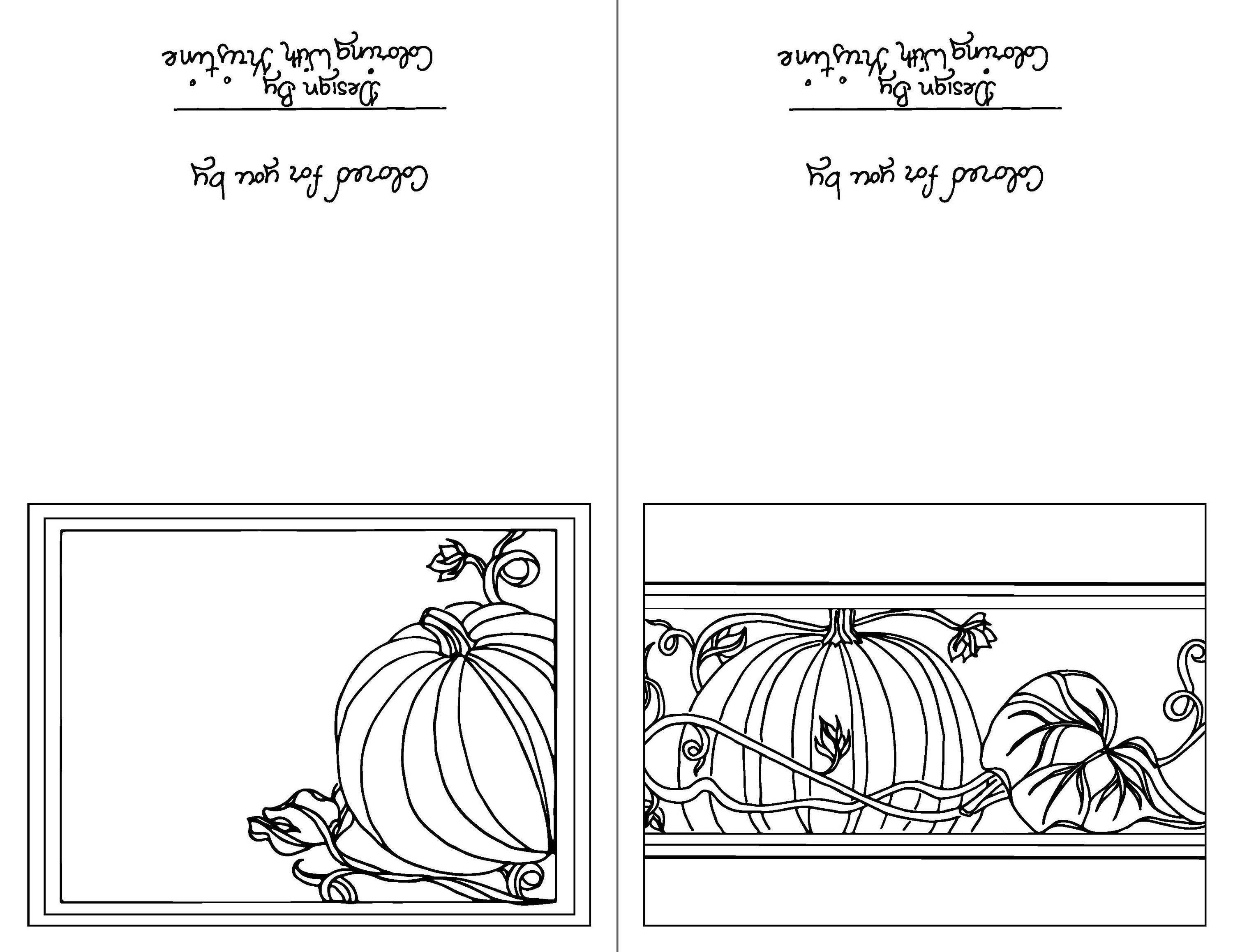 color your own fall greeting cards set of two instant download