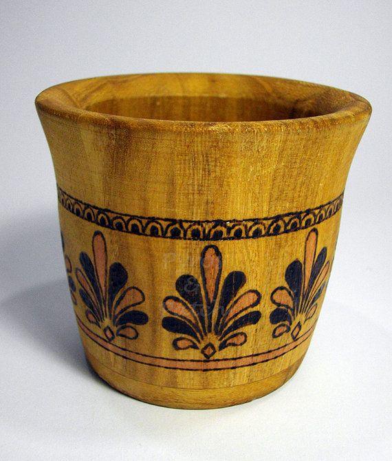 Penholder wooden pyrography and painted classic art - Portapenne contenitore in legno pirografato e dipinto con disegni arte classica