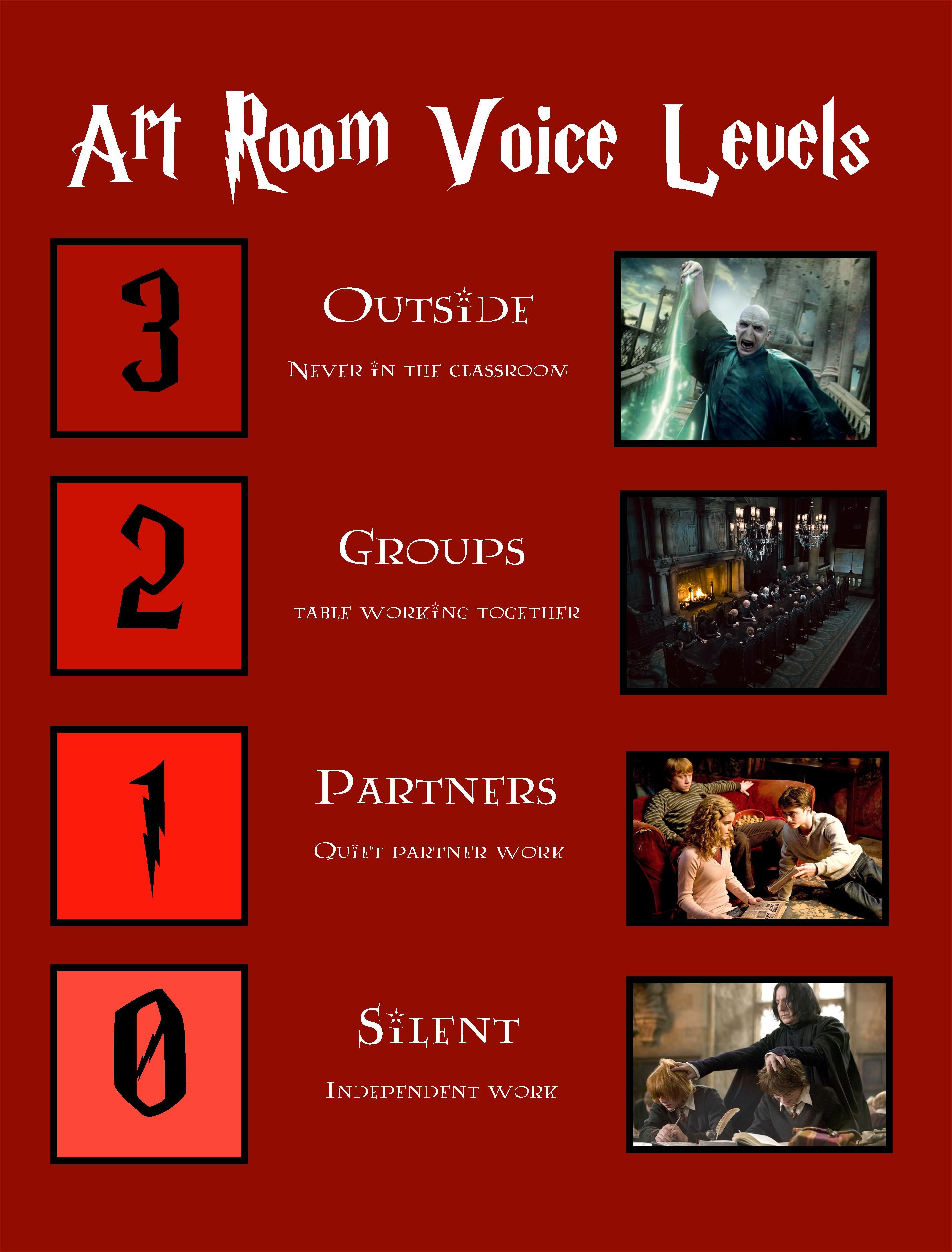 Harry Potter Book Level : Harry potter classroom voice levels poster mrs