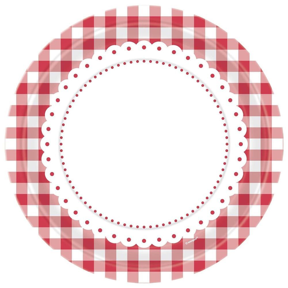 8 Red Gingham Lunch Plates Party Tableware Decorations Birthday Catering Round Ebay Tableware Decoration Gingham Party Red Gingham