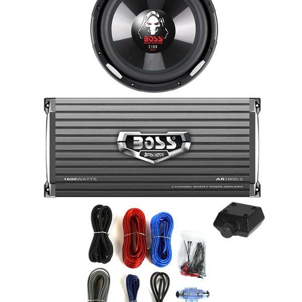 """AR16002 1600W 2-Ch Amp BOSS P106DVC 10/"""" 2100W Subwoofer Sub 8 Gauge Amp Kit"""