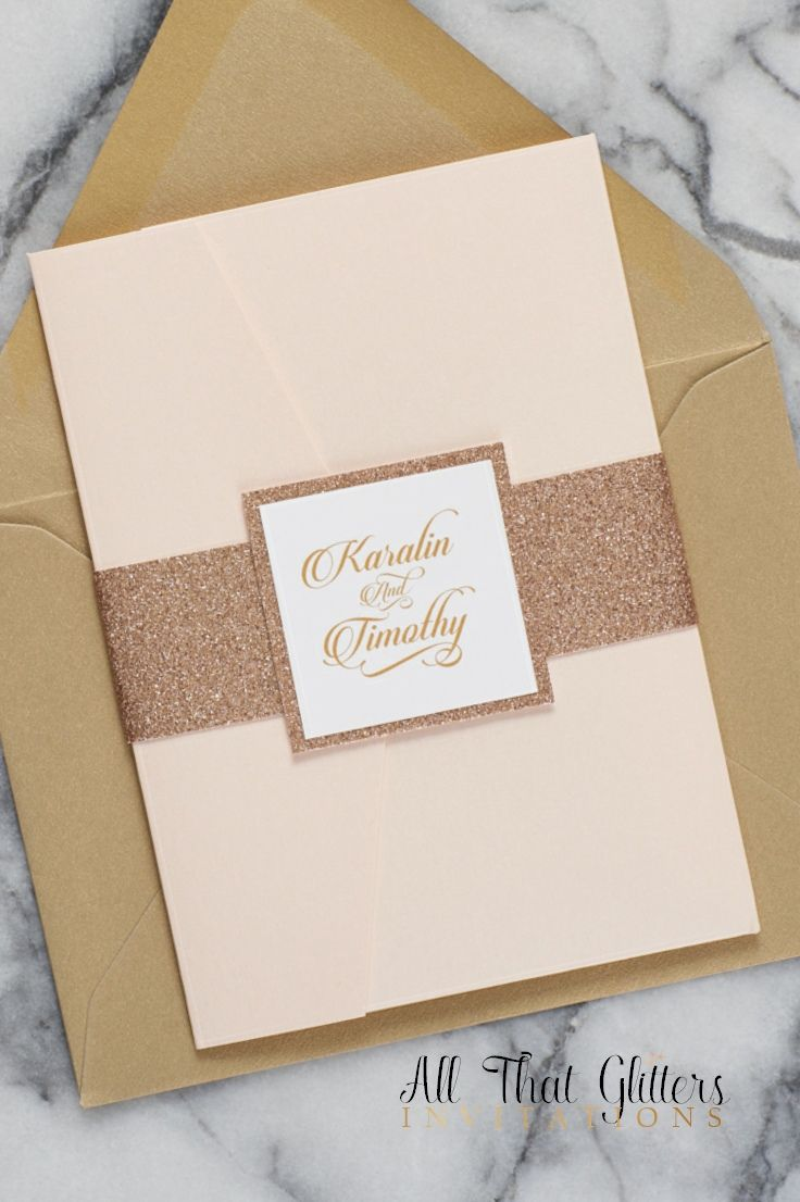 wedding card invite wordings%0A Blush and Rose Gold Wedding Invitation Suite  Rose Gold Glitter Wedding  Invites  Rose Gold