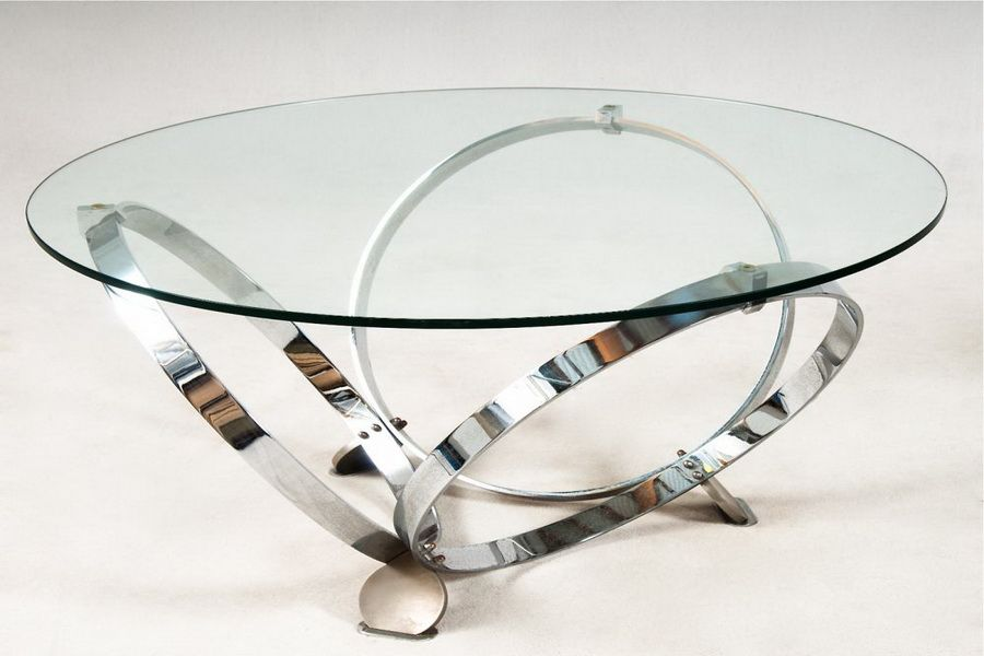 Glass Top Coffee Table With Shiny Metal Circle Legs Round Glass