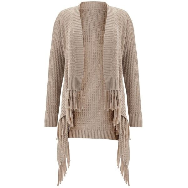 Jeffrey Paula Fringe Shrug Cardigan ❤ liked on Polyvore featuring ...