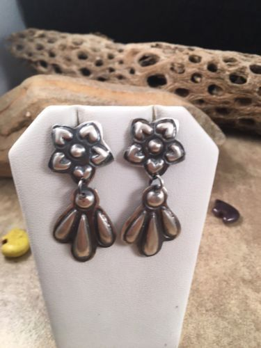 Tim Yazzie Sterling Silver Concho Dangle Earrings