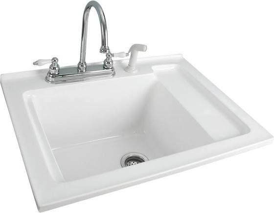 """30"""" White Acrylic Laundry Sink"""