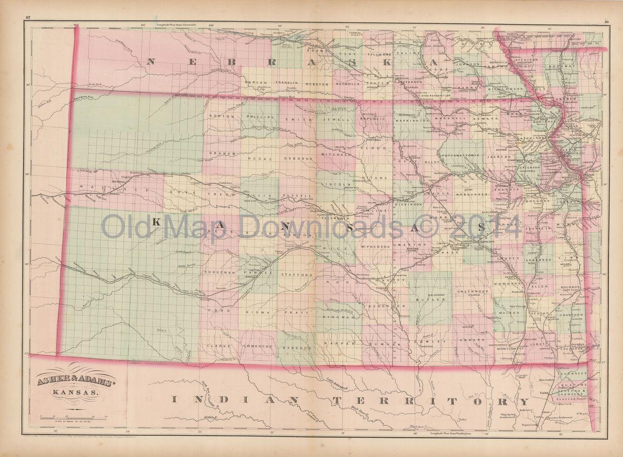 Old Kansas Map.Old Map Downloads Kansas Old Map Asher Kansas Antique Maps Old