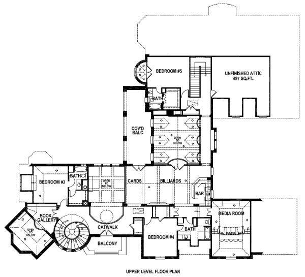 European Style House Plan 5 Beds 6 5 Baths 6713 Sq Ft Plan 141 280 Mansion Floor Plan Floor Plans House Plans