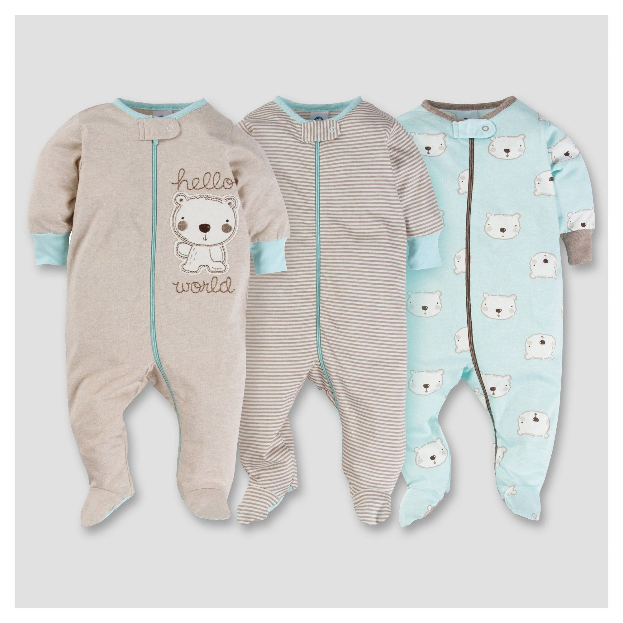 ab990a98a Baby Boys  3pk Zip Front Sleep N Play - Bear Baby - Gerber
