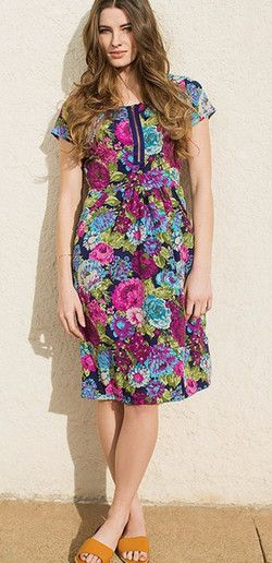 This floral print dress is trendy with an exposed zipper, and it has pockets too! The zipper also makes the Allison Dress accessible for breastfeeding Moms. This dress is comfortable and is perfect for all shapes and sizes.   Modest dress, floral dress,  dress for breastfeeding, teacher dress,  women's fashion