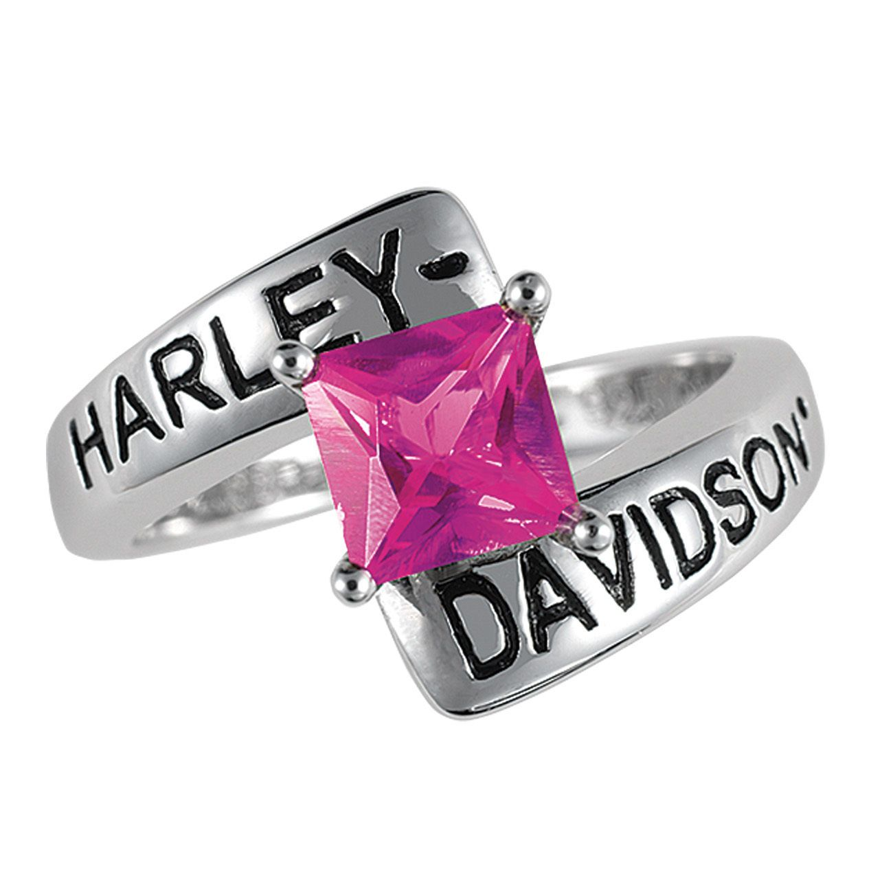 Harley-Davidson Silver Crossroads Birthstone Ring - July Faux Ruby ...