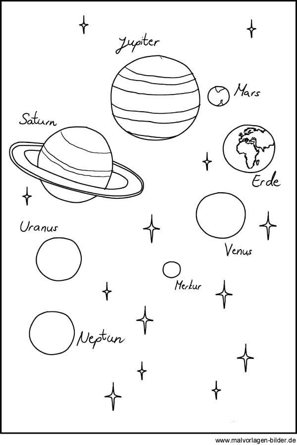 planeten als malvorlage und ausmalbild  malvorlagen