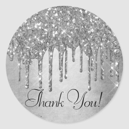 Sparkle Drip Thank You Silver Platinum Icing Classic Round Sticker Zazzle Com Round Stickers Colorful Glitter Glitter Paint