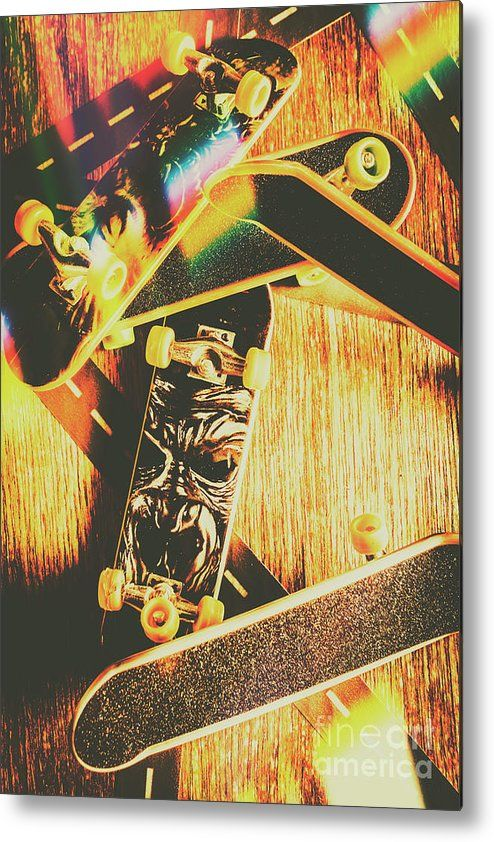 Skateboard Metal Print featuring the photograph Skateboarding Tricks ...