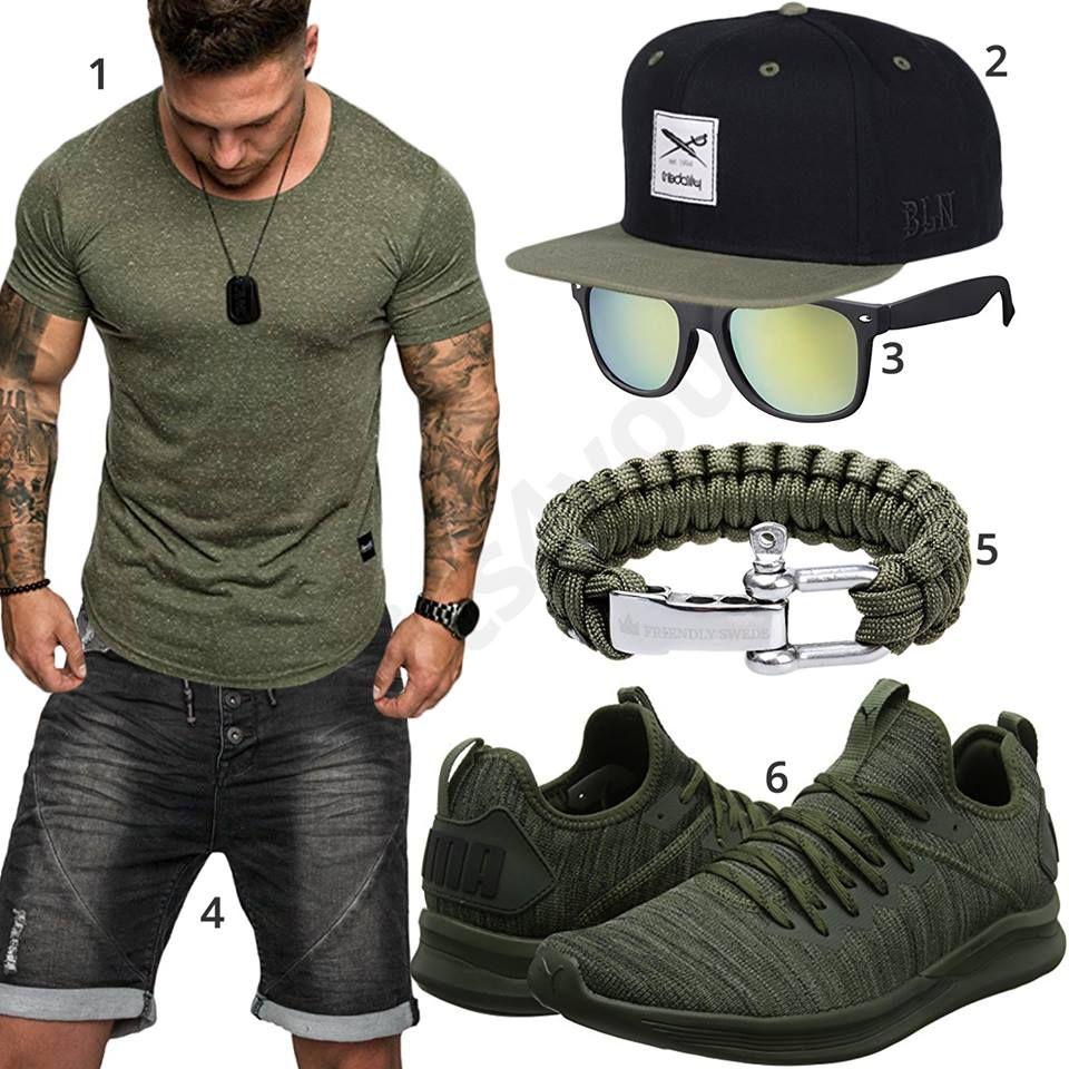 Grün Schwarzes Herrenoutfit mit Shirt, Shorts und Cap