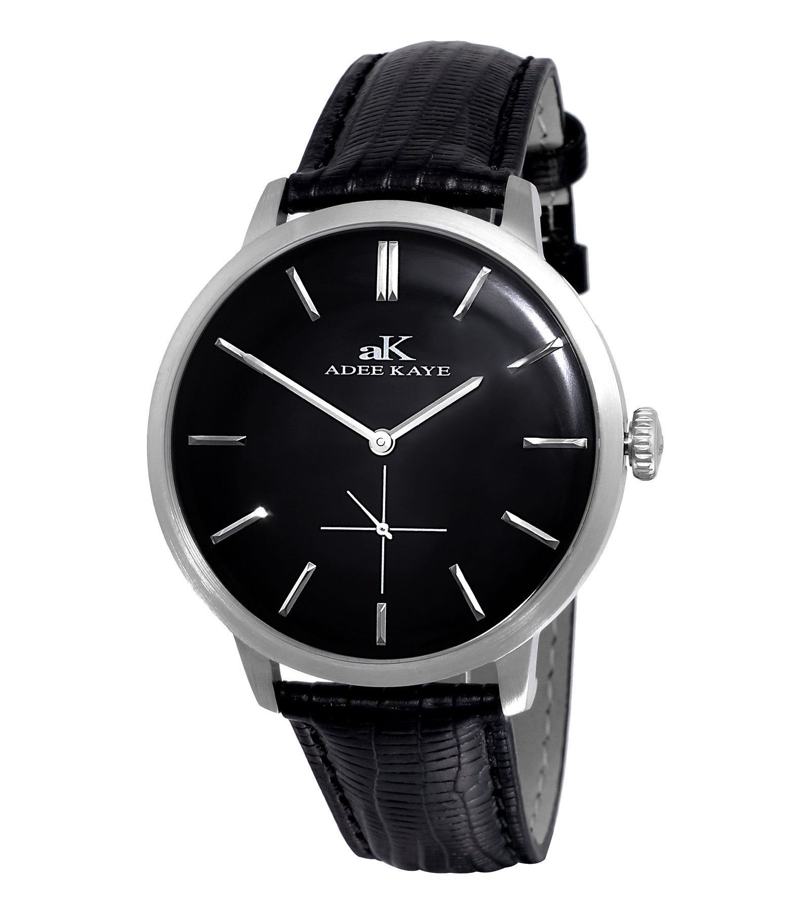 Adee Kaye AK2225-M/BK Men's Watch Black Dial With Black Textured Leather Band