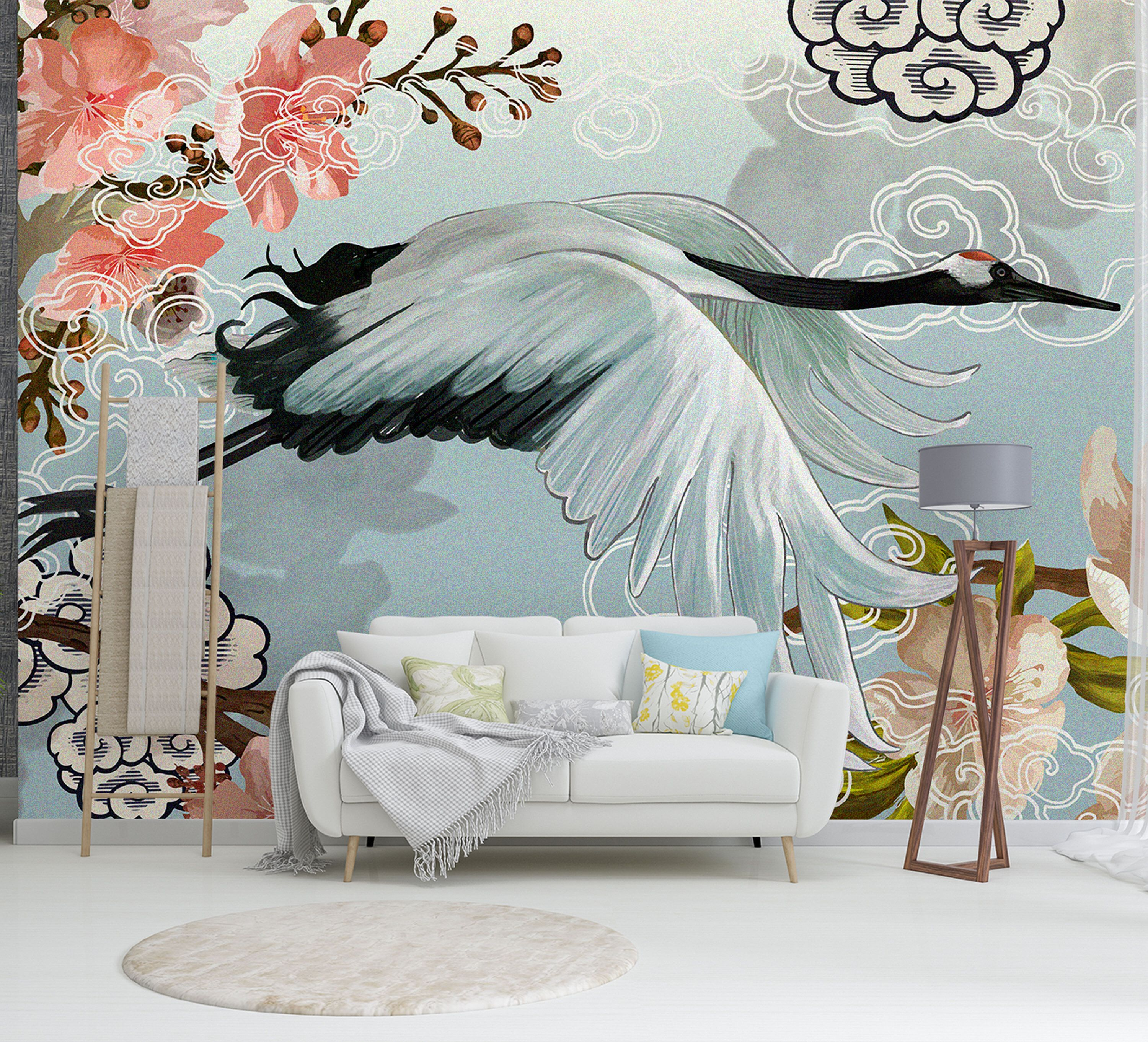 White Japanese Crane Living Bedroom Japanese Mural Wallpaper Removable Self Adhesive And Traditional Bedroom Wallpaper Colours Wallpaper Mural Wallpaper