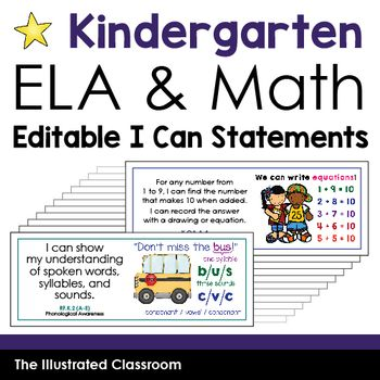 Common Core Standards I Can Statements For Kindergarten In