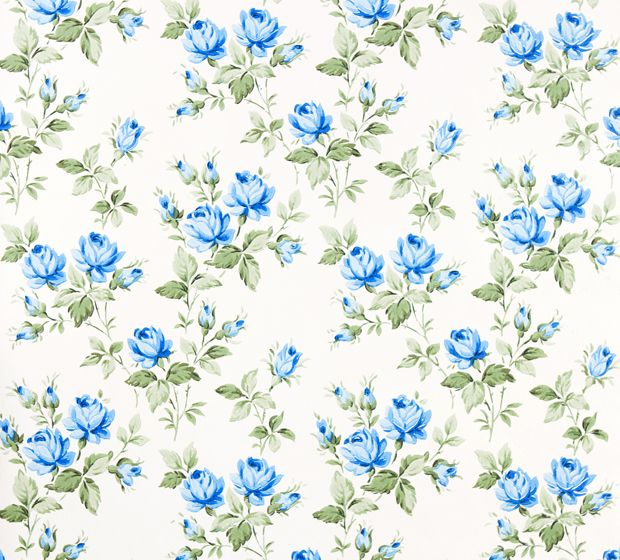 Retro Wallpaper Blue Roses Antique Vintage