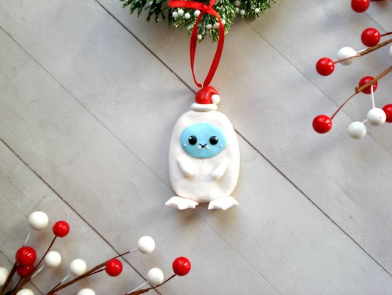 Abominable Snowman Christmas Ornament Polymer Clay Yeti Christmas