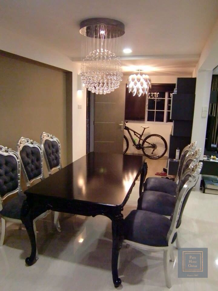 sleek impressive black dining table with 06 silver grey ornate rh pinterest com