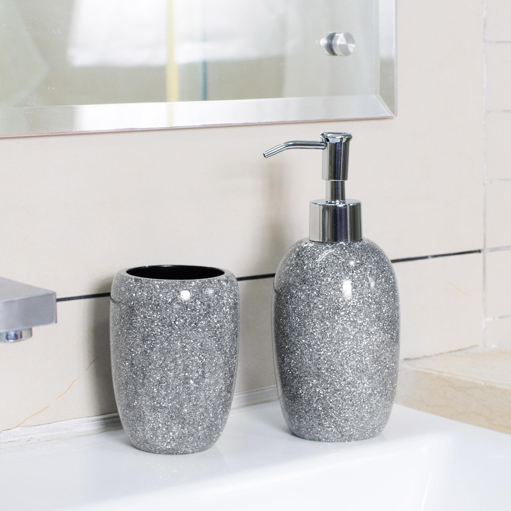 Sparkle Silver Resin Lotion Dispenser In 2020 Bathroom Sets Patterned Blinds Lotion