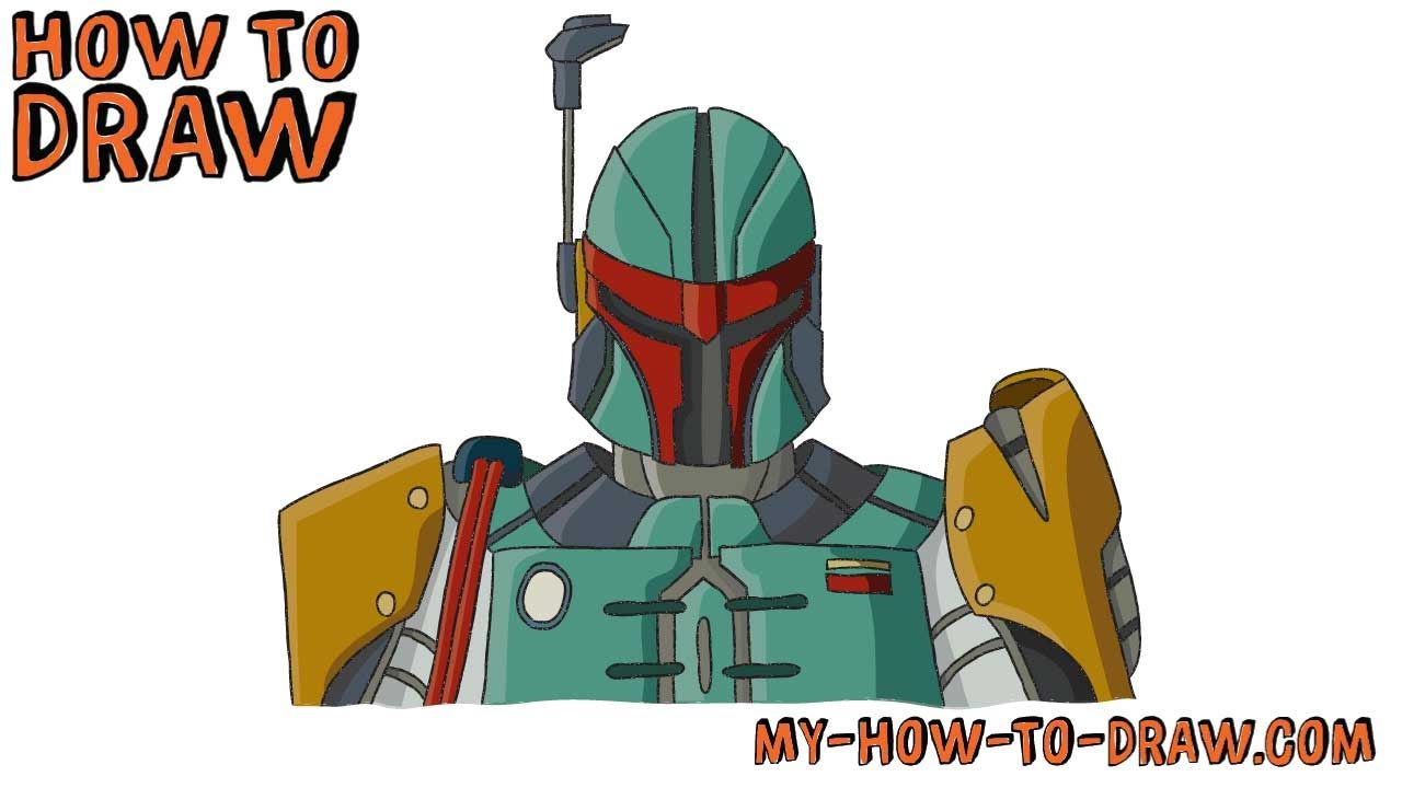 How to draw Boba Fett - Star Wars - Easy step-by-step ...Boba Fett Drawing Tutorial