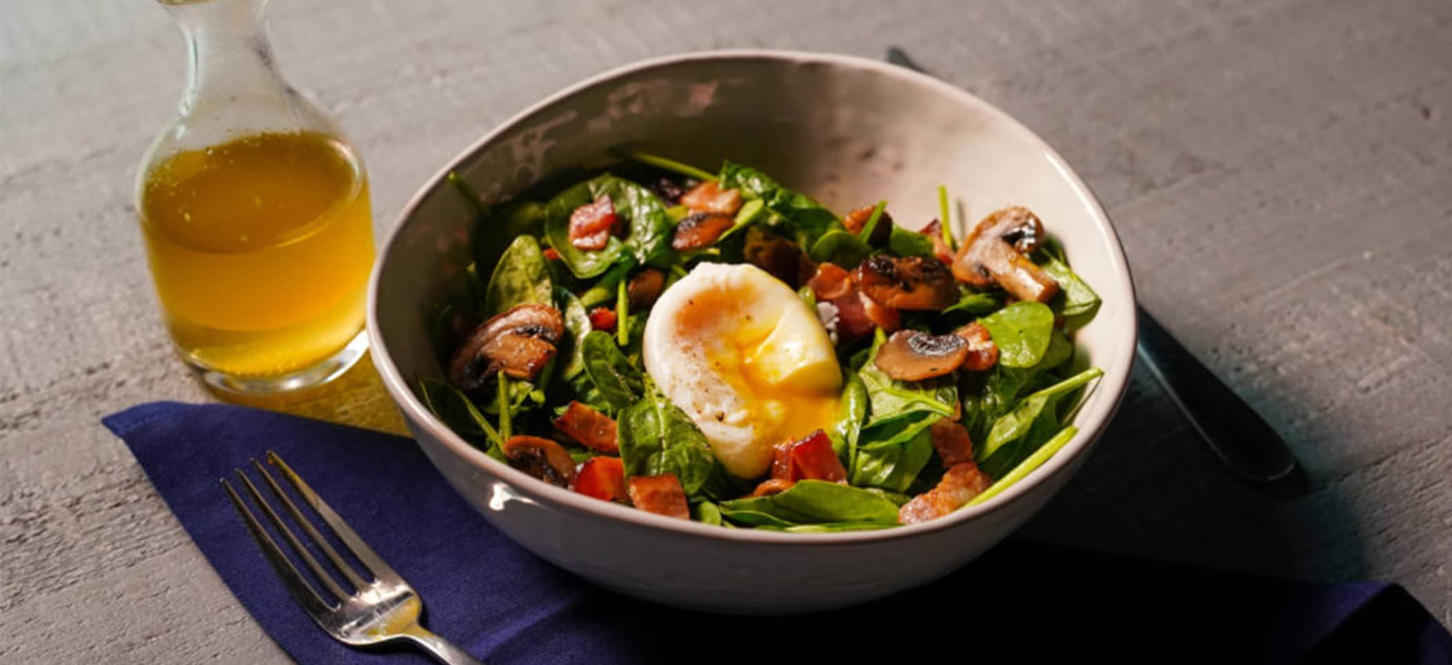 Spinach Salad with Bacon, Mushrooms, Poached Eggs and Bacon Vinaigrette - American Egg Board