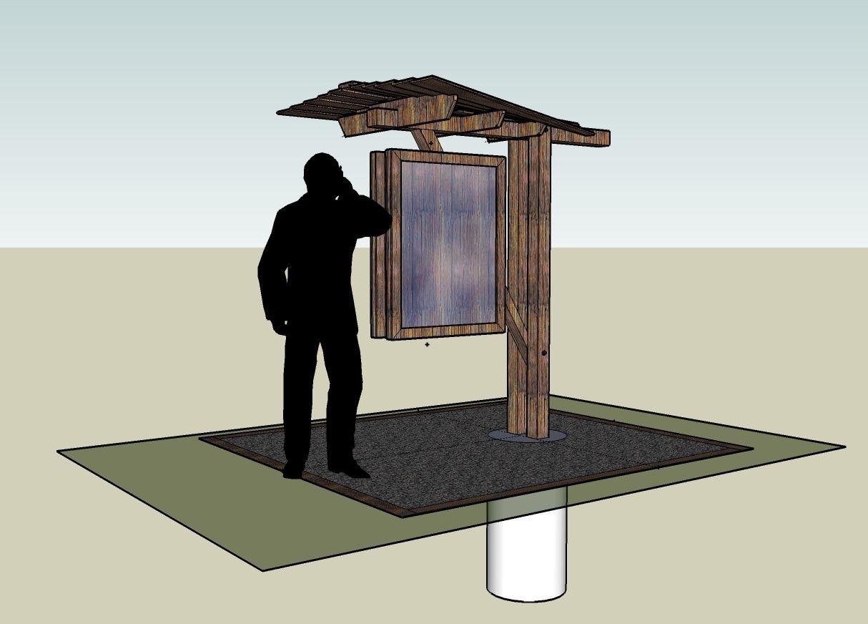 Kiosk sketchup design trailheads wayfinding for Table sign design