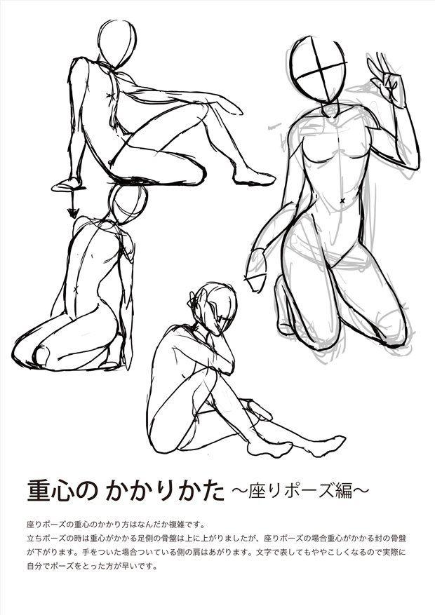動きのあるポーズを描く時に Ry 5 スケッチの描き方 解剖学的な