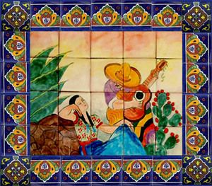 Mural Tiles For Kitchen Decor Outdoor Mexican Tile Murals  Tile Mural Sku 88054 Price $ 169 00