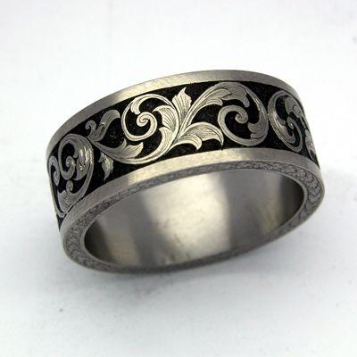 Fabulous Wedding Band Engraved Patterns Greek Pattern Laser Engraved Black Tungsten Ring wedding heels