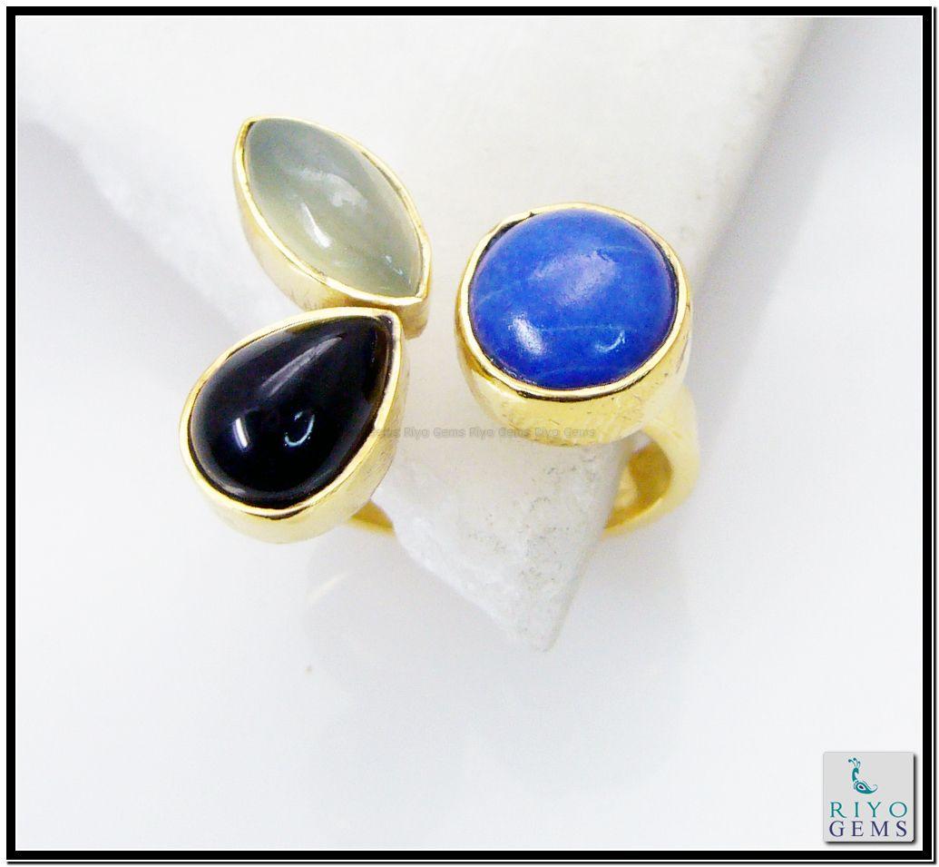 Multi Black Onyx Gems 18 Kt Gold Plating Sports Ring Sz 8 Gprmul8-5310 http://www.riyogems.com