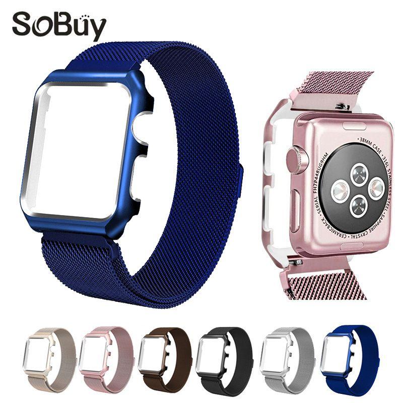 d5fc52d78cfb3 comprar IDG Milanese correa de acero inoxidable para Apple Watch Band 42mm  38 pulsera enlace iwatch brazalete 1 2 3 metal con caja