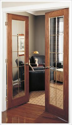 Wood French Interior Door but with frosted glass into bedroom