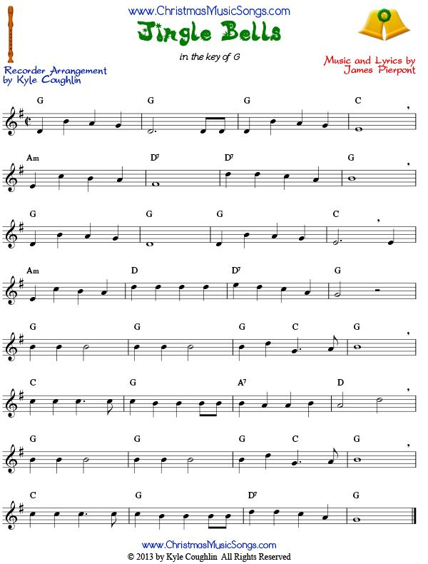 Jingle Bells For Recorder Sheet Music Jingle Bells Sheet Music