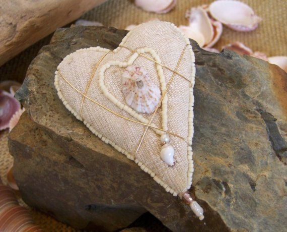 Heart Brooch with Shell by PasticheStudio on Etsy