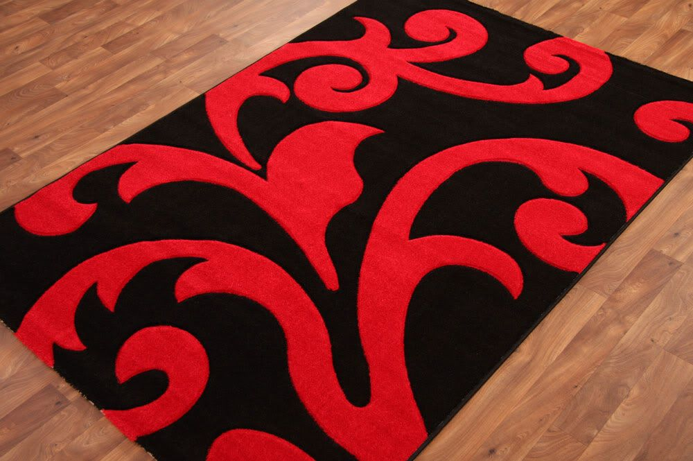 Large Red Black Flower Rug Area Rugs Mats Carpets