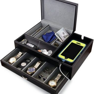 Big Dresser Valet Box Mens Jewelry Box Organizer with Large
