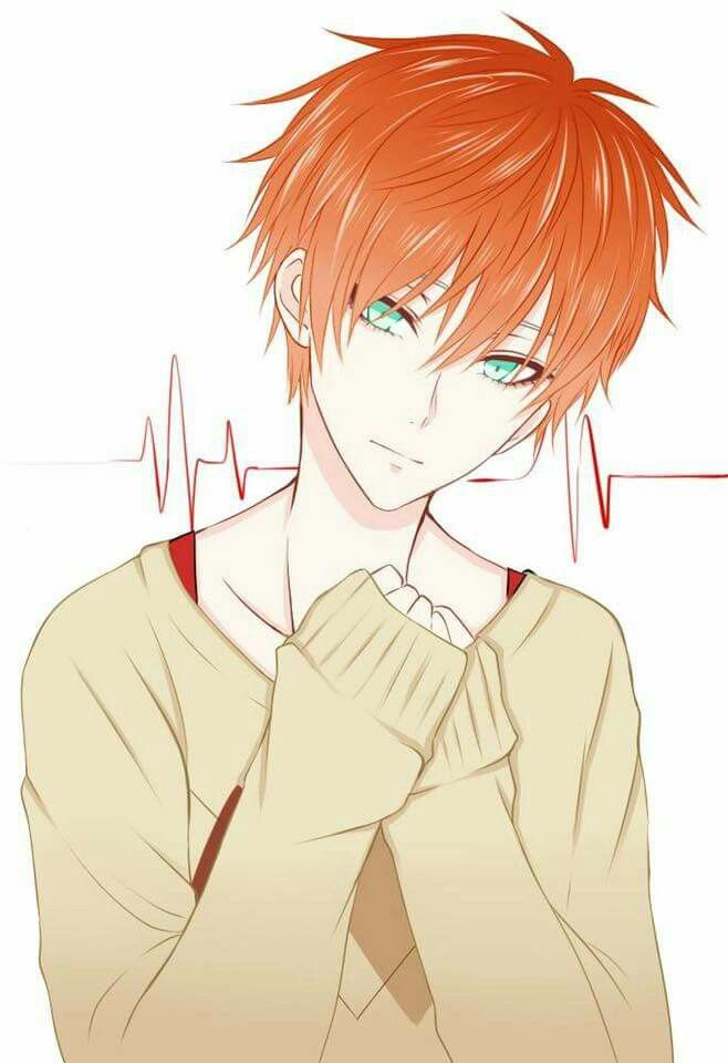 Anime Guy Red Hair Mint Green Eyes Heartbeat Mystic Messenger Anime Boy Anime Guys