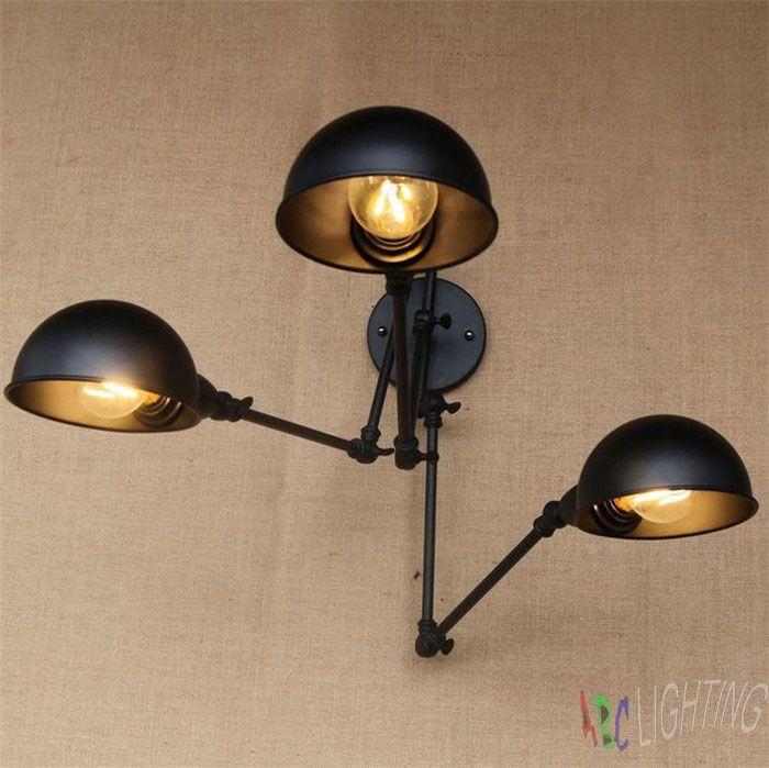 Industrial double-headed Adjustable three Swing Arm wall lights Wall ...