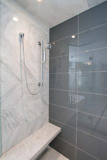 Petruzzi Residence Modern Denver By Shawna Jaramillo Gray Glass Tile Bathroom Shower Wall Tile Large Shower Tile