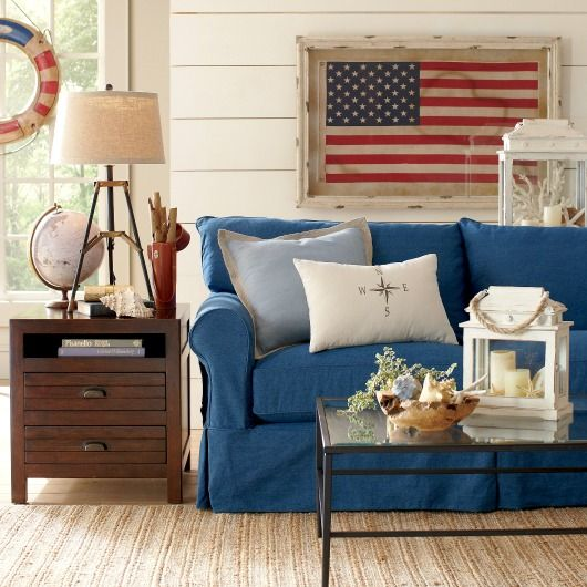 Blue Slipcover Sofa For A Nautical Living Room... Http://www