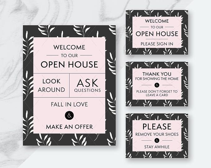 open house signs, real estate printables, real estate flyers, real, Powerpoint templates