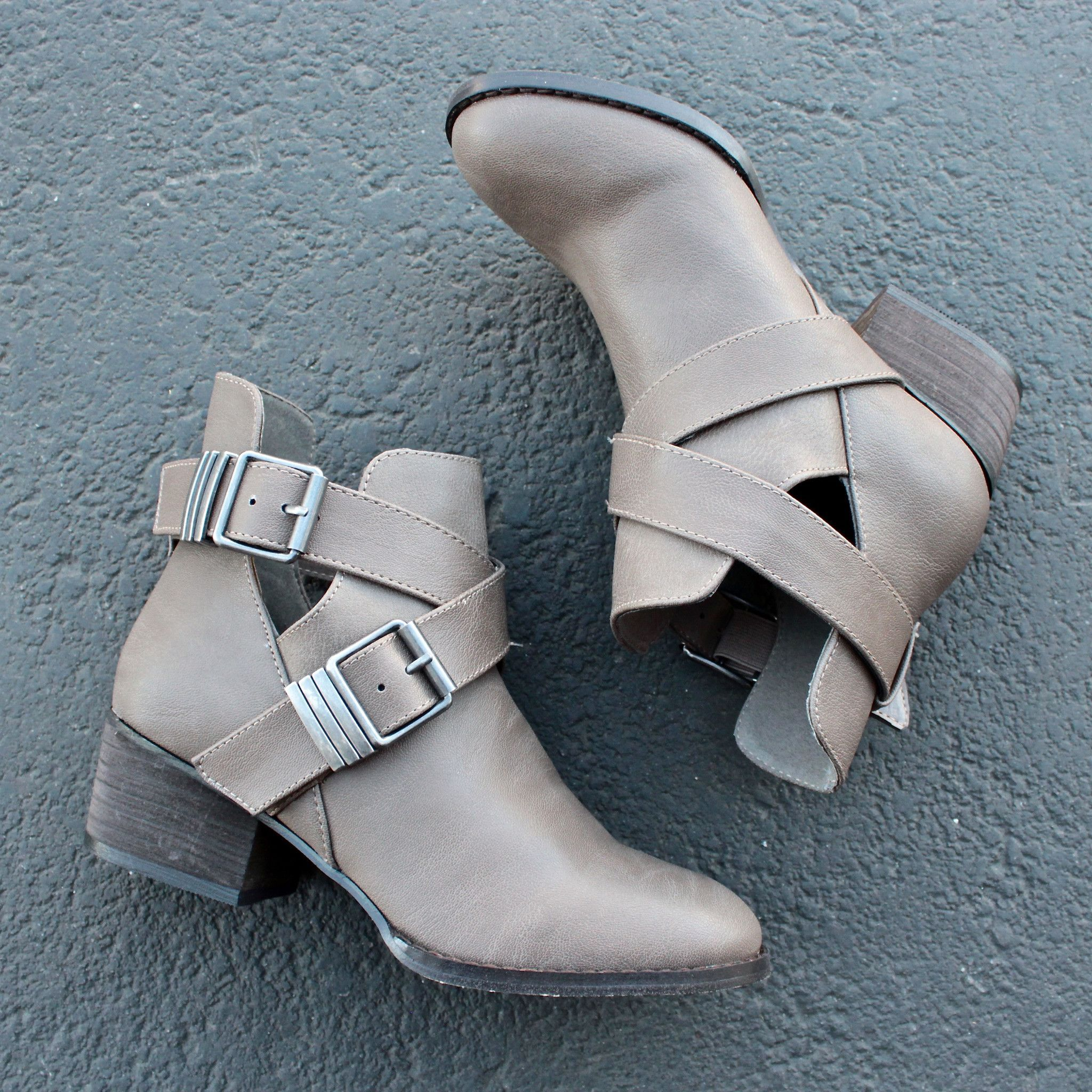 cute double buckled cut out ankle boot with stacked heels (more colors) - shophearts - 3