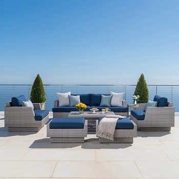 portofino comfort 7 piece seating set in laguna blue dream home rh pinterest co uk