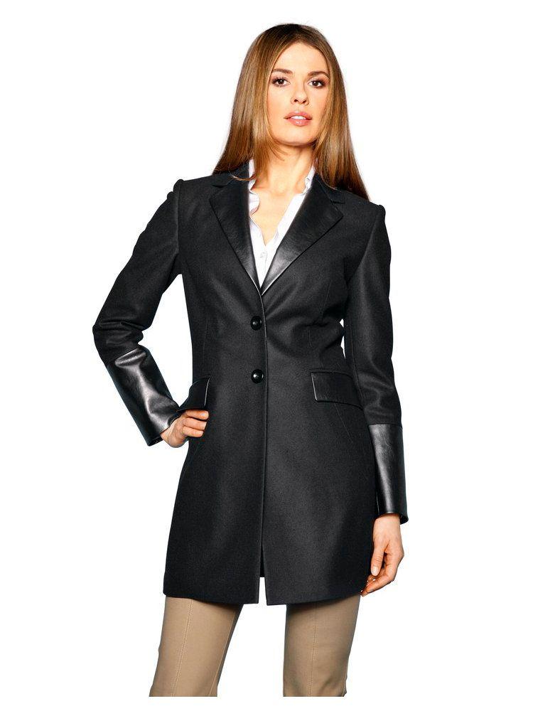 Manteau femme en laine amincissant : coutures d'ajustement