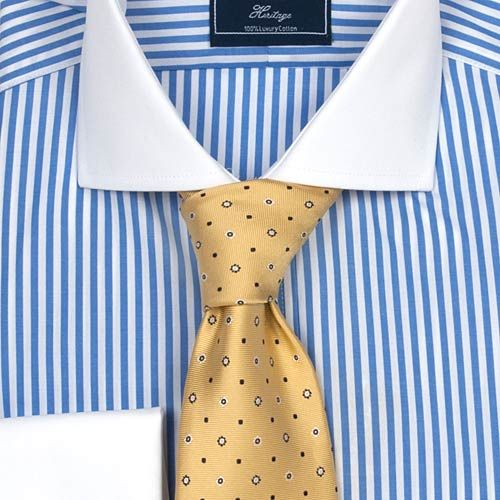 4ef7bd625207 Men's Blue & White Bengal Stripe Classic Fit Cotton Shirt - White Collar &  Cuff from Hawes & Curtis of Jermyn Street.