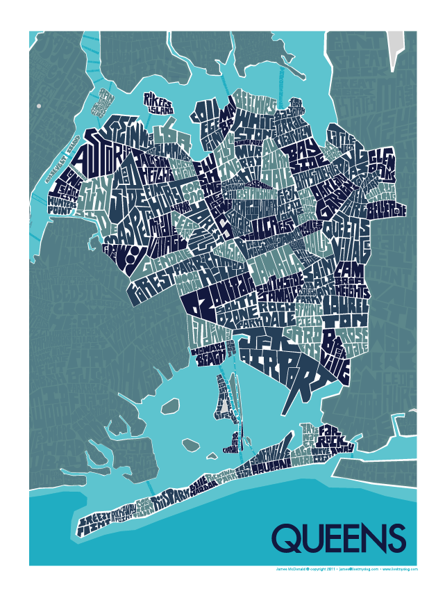 Queens NY Hand Lettered Type Map Queens
